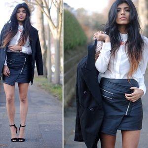 Stylestalker black faux leather biker mini skirt